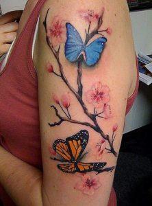 butterfly cherry blossom tree tattoo feminine girls women beauty grace rebirth renewal change spring