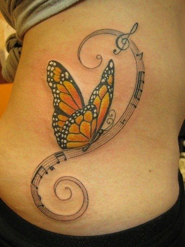 The meaning of butterfly tattoos tattoo articles ratta for Feminine music tattoos