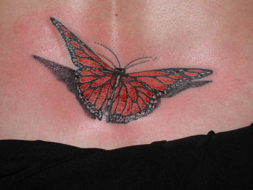 butterfly tattoo with natural colors. Shadows make it seem as though ...
