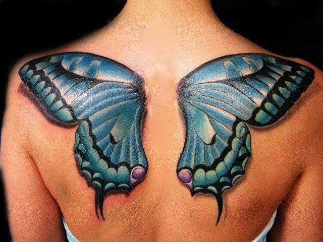 Tattoos With Meaning Of New Beginnings A tattoo of blue butterfly