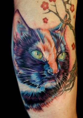 A realistic tattoo art portrait of a cat, complete with photorealistic lighting and shading