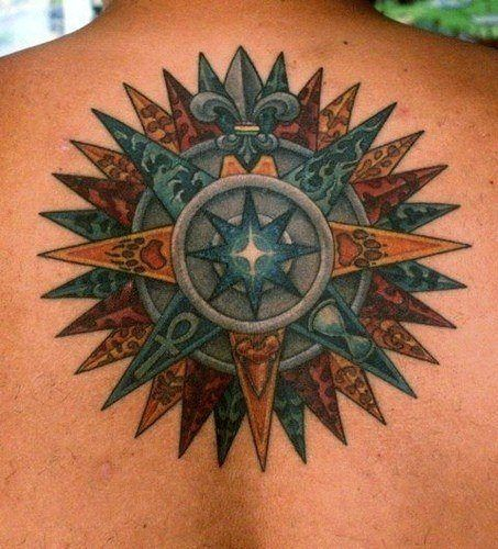 This cross tattoo is a moral compass that uses symbols to represent life priorities