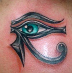 An Egyptian tribal tattoo of the eyes of Horus, a symbol of protection from evil
