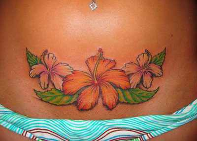 A sexy hibiscus flower tattoo design that is perfect for beach bums and surfer girls