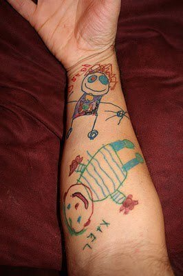 kids children drawing tattoo picture memory sweet relationships love parenting body art design