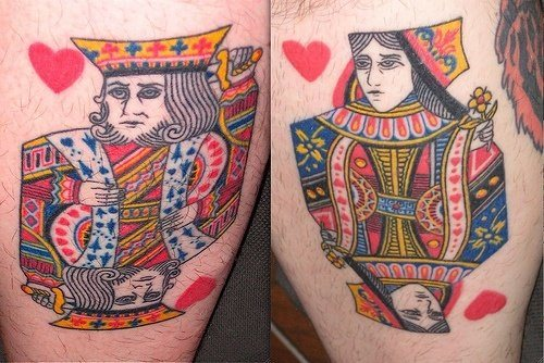 Two Tattoos That Depict Typical Playing Card Designs For The King