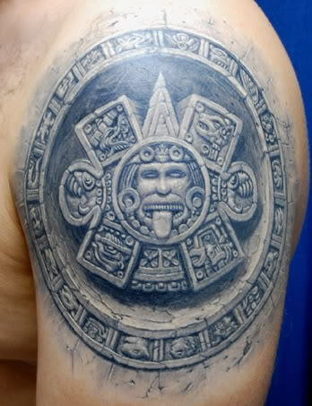 A 3D tattoo design based on one of the Mayan calenders