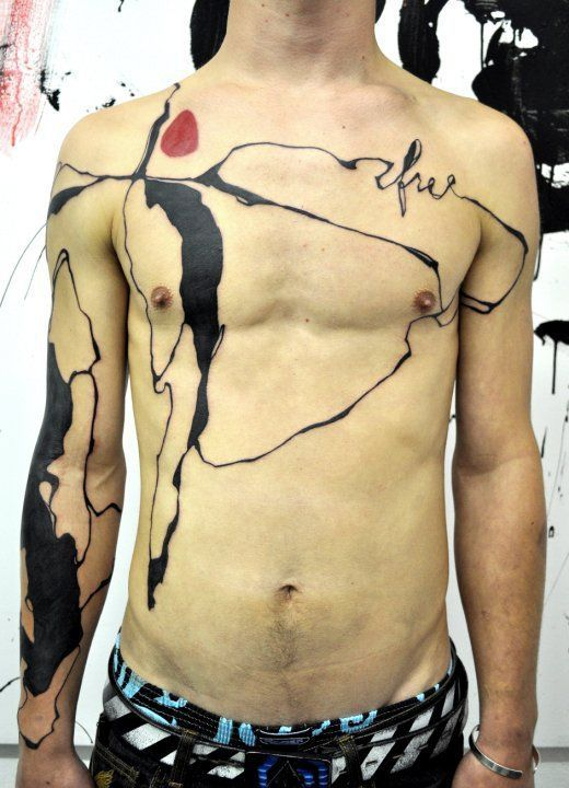 musa abstract tattoo heart free black red chest art sexy body art paint spill dribble pollock