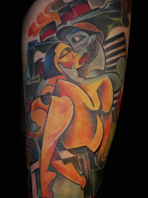 pascal jarrion abstract tattoo design lovers couple relationship love life companion cubism picasso style