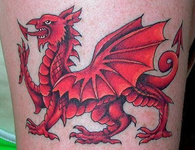 A patriotic tattoo of the medieval red dragon from the Welsh flag