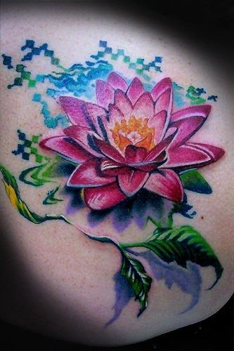 A colorful and creative lotus flower tattoo design that is a great tattoo for girls and women