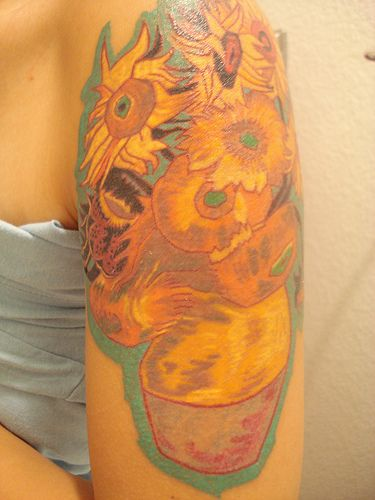 A tattoo of the famous Van Gogh painting of sunflowers