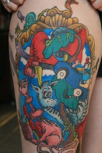 A colorful tattoo of various Dr Seuss characters, taken from the Dr Seuss childrens books.