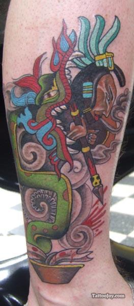 A mayan style tattoo design featuring a serpent and a hunter