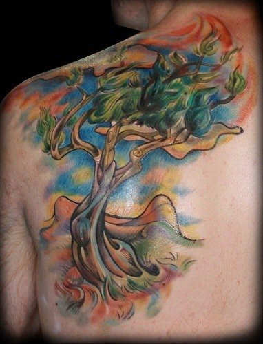 Abstract olive tree tattoo design based on van Gogh's painting.
