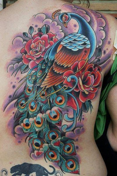 this beautiful old school tattoo design of a peacock bird includes roses to add the meaning of. Black Bedroom Furniture Sets. Home Design Ideas