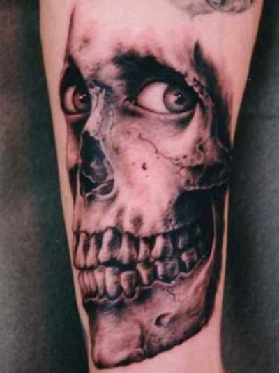 This unsettling skull tattoo combines skeletal remains with living human eyes