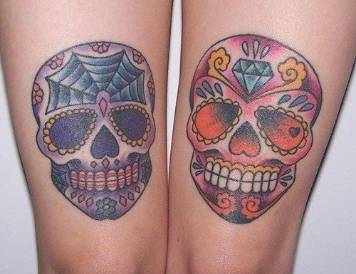 Sugar skull tattoos can be worn as a memorial for loved ones who have ...