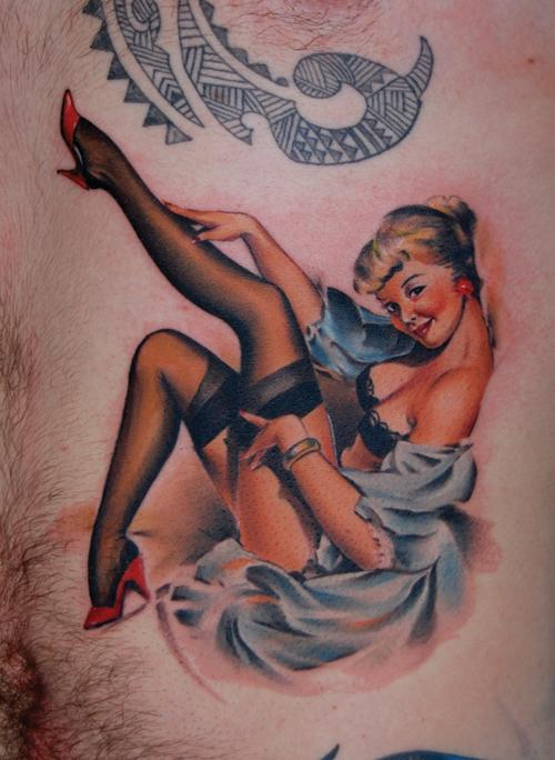 Pin up girl tattoo designs are sometimes referred to as boudoir girl tattoos