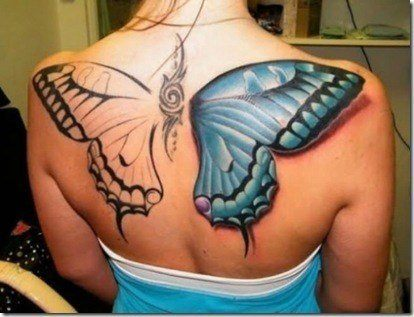 This unfinished butterfly tattoo is a perfect example of the difference between 2-dimensional and 3-dimensional tattoos