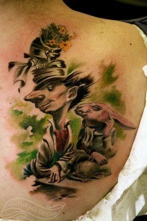 An artistic tattoo of the Mad Hatter and March Hare from Alice in Wonderland