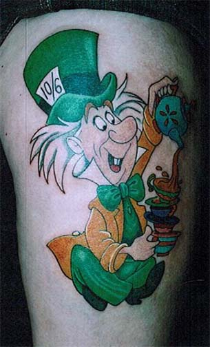 A cute tattoo of the Mad Hatter from the Walt Disney movie Alice in Wonderland