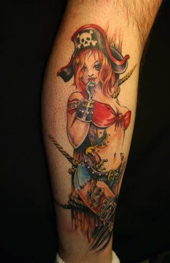 A cute manga style pin up girl tattoo design of a hot girl dressed as a pirate