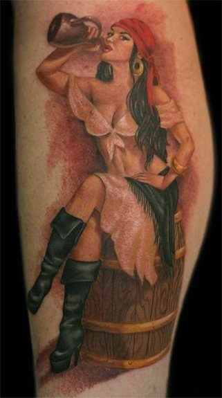 This pin up tattoo shows a sexy woman dressed in a parody of a pirate's outfit.
