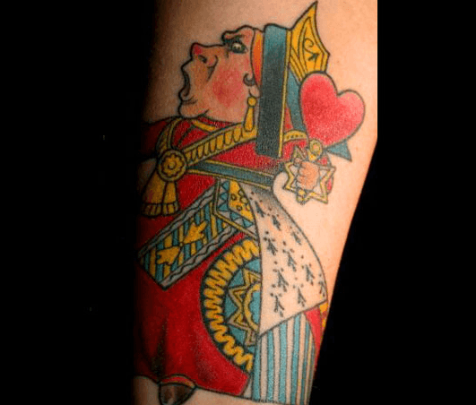 A tattoo of the playing card Queen of Hearts from Alice in Wonderland