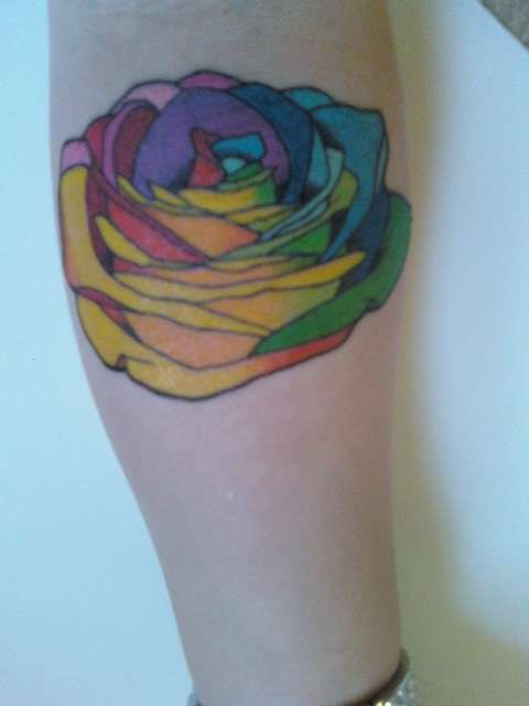 rainbow rose tattoo design flower feminine girls cute fun colorful symbol of love passion