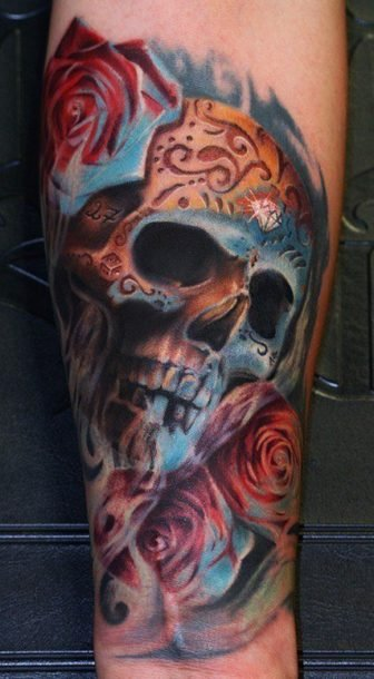 The tattoo artist has used yellow and blue lighting in this artistic sugar skull tattoo