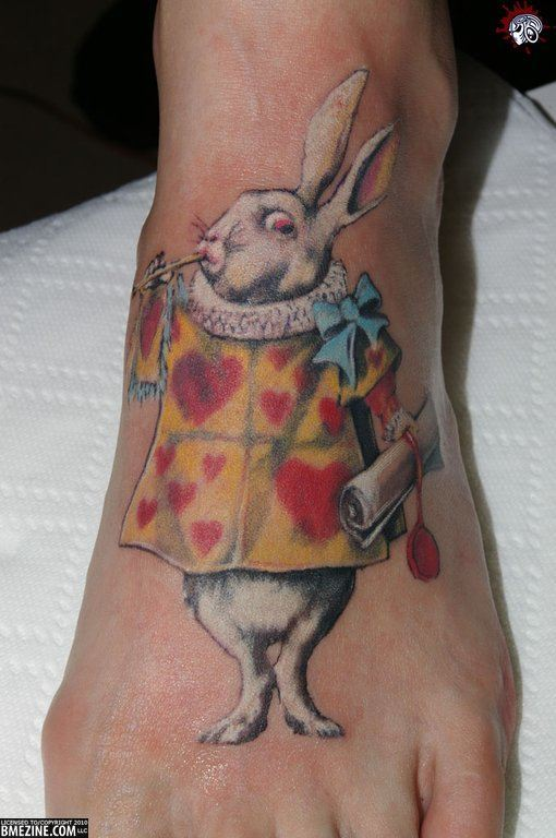 An Alice in Wonderland tattoo of the White Rabbit character