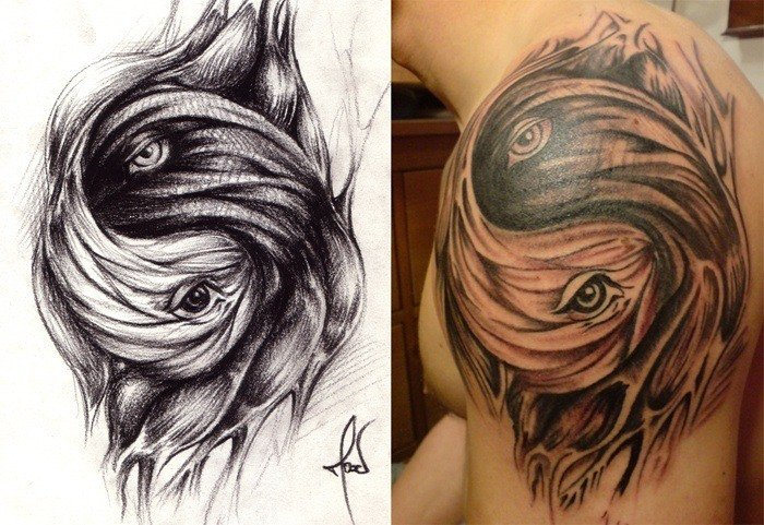Ying And Yang Dolphin Tattoo With A Shark