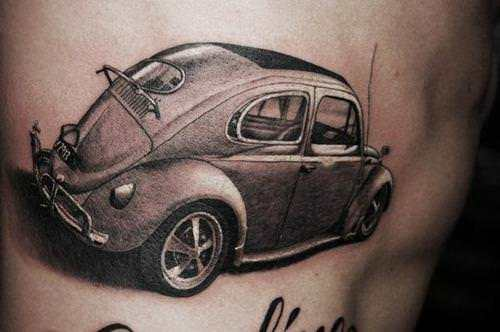 a car tattoo of a vw volkswagen beetle from the 1960s hippy era ratta tattoo. Black Bedroom Furniture Sets. Home Design Ideas