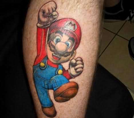 A cute video game tattoo of the famous arcade character Mario jumping and punching the air