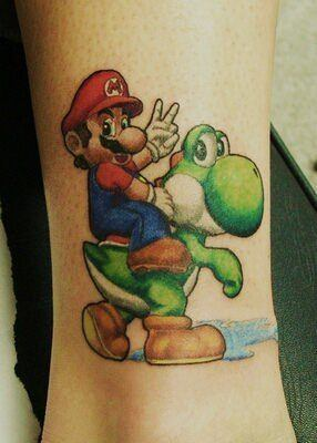 A tattoo of adult Mario and a Yoshi dragon from the Mario video games