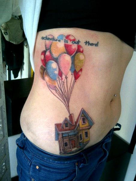 a tattoo of how carl fredrickson made his house fly with balloons in