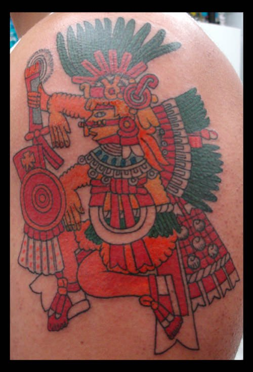 Aztec tattoos usually show figures in profile surrounded by symbolic headdresses, clothing and weapons