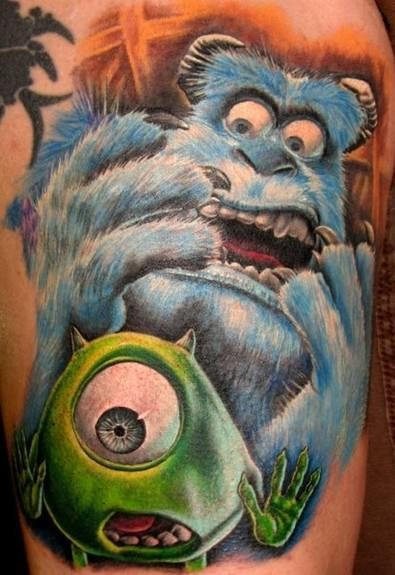 This Pixar tattoo shows the colorful main characters Sulley and Mike Wazowski from the film Monsters Inc