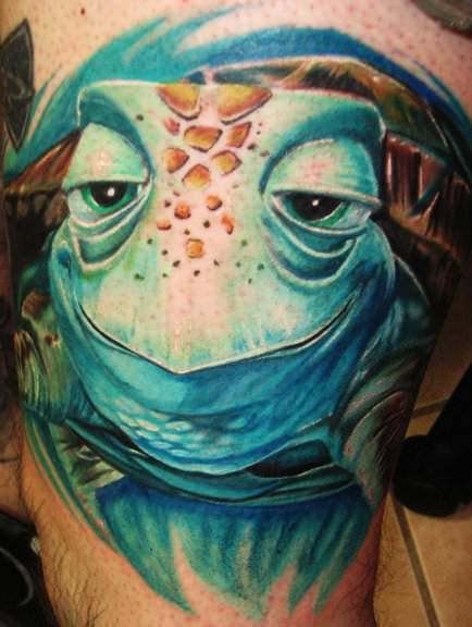 This stunning 3D tattoo is of Crush, a sea turtle character from the Pixar film Finding Nemo