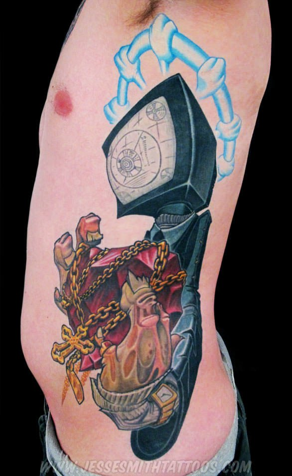 A cartoon graffiti tattoo by Jesse Smith of a character with a TV for a head holding a chrystal heart wrapped in chains