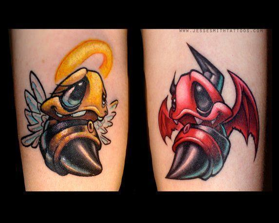 A cartoon graffiti tattoo by Jesse Smith of two bees as an angel and a demon, representing good and evil