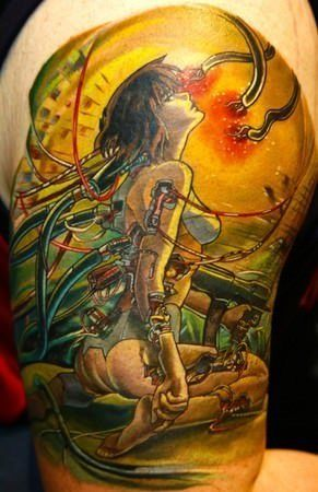 A colorful tattoo of Motoko Kusanagi from the anime film Ghost in the Shell