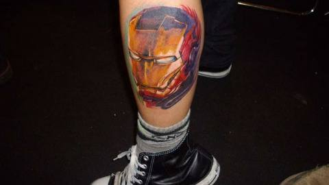 A fan art tattoo of Iron Mans head