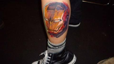 A fan art tattoo of Iron Mans head