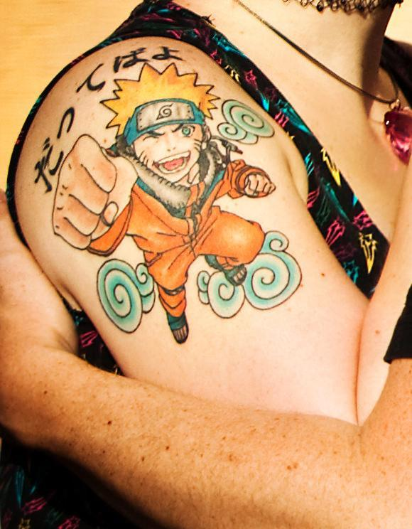 A powerful anime tattoo of the famous animated character ...