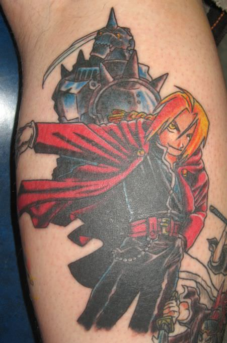 A tattoo of the brother Edward and Alphonse Elric from the anime series Fullmetal Alchemist