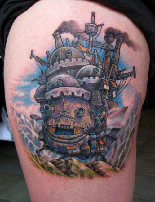 A tattoo of the walking house from the anime film Howl's Moving Castle
