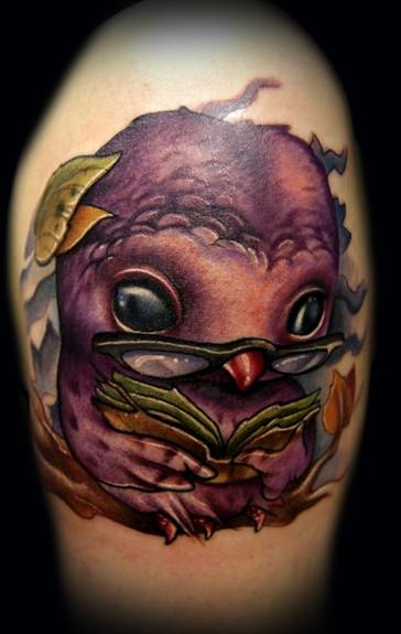 An owl tattoo design by tattoo artist Kelly Doty, who specializes in 3D cartoon tattoos