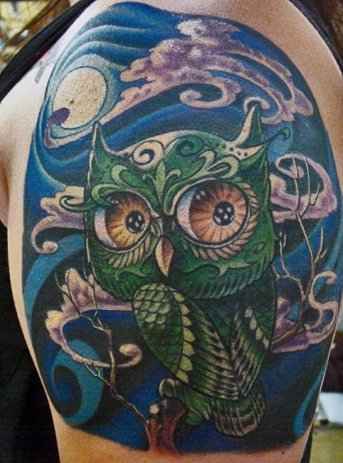 Owl tattoos are associated with the mystery and magic that accompanies the night and darkness